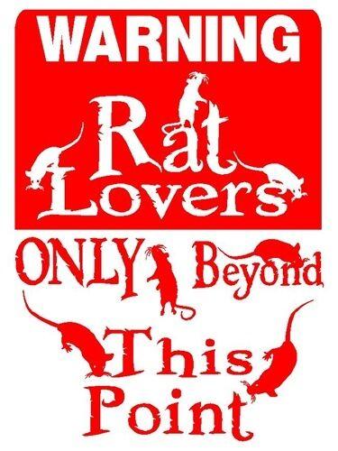 RAT Lover Alum Sign Vinyl Decal Mouse Cat Dog Pets D846