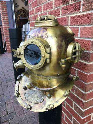 Solid Brass Scuba Marine Diving Divers Helmet US Navy Mark V Full Size