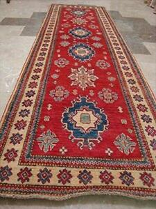 Awesome Super Kazak Caucasion Geometric Veg dyed Mahal Hand Knotted Runner Rug (9.11 x 2.10)'