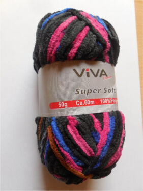 S9 1 Farbe Multicolor Wolle Garn Häkeln Stricken Viva Super Soft In