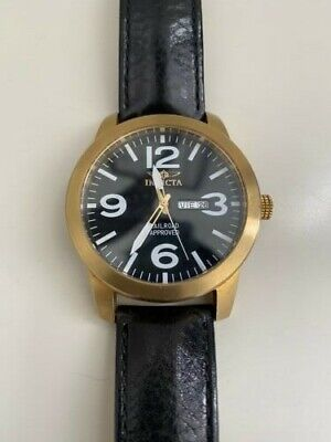 Invicta Gold Unisex Watch Black Leather Band
