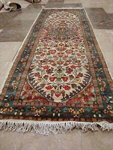 Exclusive Pestal Light Ivory Floral Hand Knotted Runner Rug Wool Silk Carpet (6 x 2)'