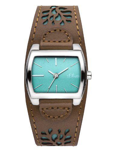 s.Oliver Damen-Armbanduhr Analog Quarz Leder Braun Türkis Modern SO-2877-LQ