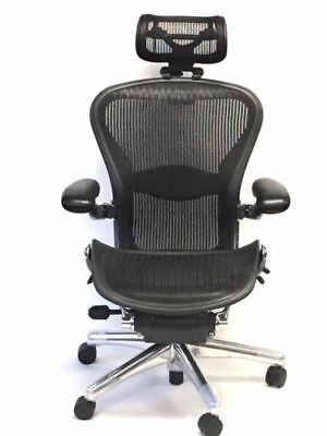 Executive Size B Lumbar Support With Leather Arm Pads Headrest Aeron Chair