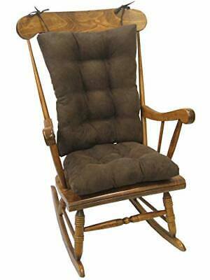 Twill Overstuffed Padded Rocking Chair Cushion Set - Chocolate (2-Count)