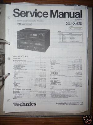 Technics Manual de Servicio SU-X920 Amplificador, Original segunda mano  Embacar hacia Mexico