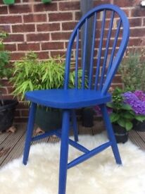 Blue Chalk Paint Solid Wooden Chair Refurbished Hand Painted and Sealed