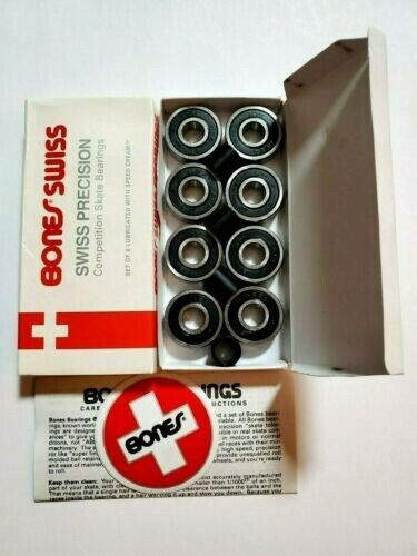 Bones Swiss Skateboard Bearings Set Of 8-Pack New 608 / 8mm (open box)