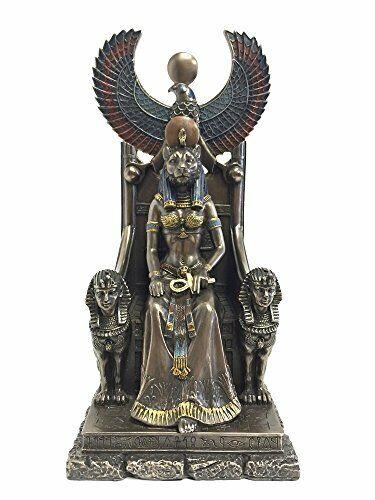 "11"" Egyptian Goddess Sekhmet on Throne Egypt Decor Statue Sculpture Figure"
