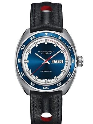 NEW HAMILTON PAN EUROPE DAY/DATE BLUE DIAL H35405741