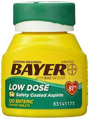 120 Enteric Coated Tablets - Bayer Aspirin Regimen Low Dose 81mg Enteric Coated Tablets 120 Each