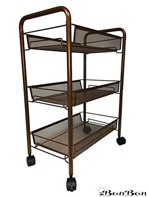 BonBon 3-Tier Wire Mesh Rolling Cart for Serving Utility Kitchen Cart (Bronze) Aluminum Serving Cart