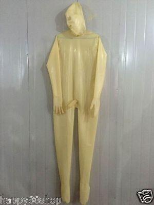 Latex Rubber Gummi Tights Transparent Catsuit Ganzanzug Maske Suit Size XS-XXL