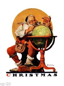 Norman Rockwell SANTA Print PLANNING HIS TRIP AROUND THE GLOBE Christmas 11x15