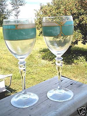 Luminarc Wine Glasses Green Marble Design Set 2 France Green Wine Design