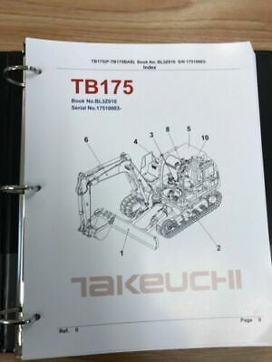 Takeuchi Tb175 Parts Manual Sn 17510003 And Up Free Priority Shipping
