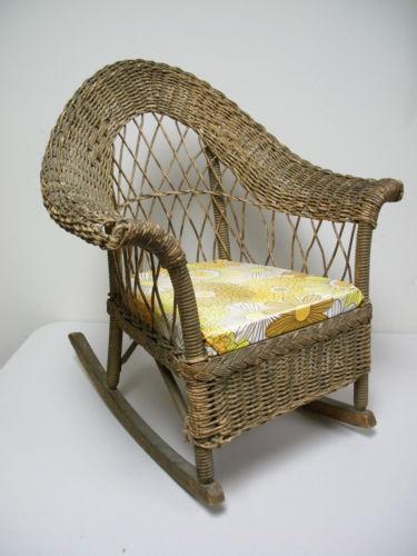 Antique Wooden Chairs >> Childs Wicker Rocking Chair   eBay