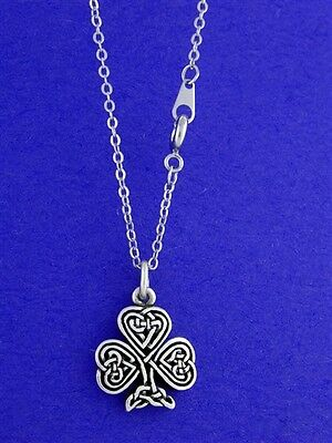 Pewter Celtic Knot Shamrock Necklace with 18 inch chain