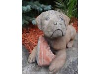 Vintage Style Stone Dog With Red Shoe Garden Statue Ornament Called Ben