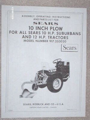917.253020- Sears Suburban 3pt 10in. Plow Owners Manual On Cd