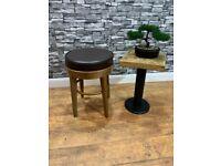 Heavy Duty Small Dark Wood Bar Stool and Black Cushioned Seat Cafe Bar Bistro