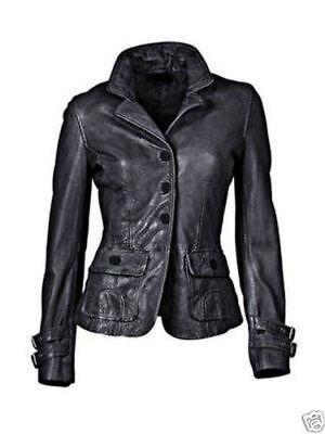Women Genuine Lambskin Leather Blazer Jacket Slim Fit Classic Button Coat Jacket