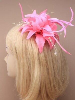 Light Pink Clip (light pink fascinator with pearls clip for Ascot , Races, Weddings, Ladies Day)