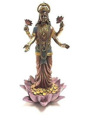 "Lakshmi Hindu Goddess on Lotus Statue Sculpture 9.5"" height by Summit Figurine"