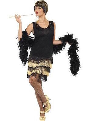 Ladies 20s Fringed Flapper Costume Fancy Dress 1920's Dancer New York Hoe Womens