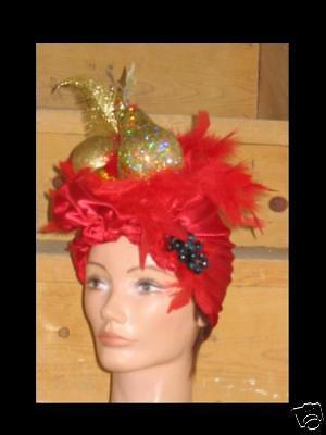 CARMEN MIRANDA LATIN LADY GOLD FRUIT/PLUME HEADPIECE - Carmen Miranda Costumes