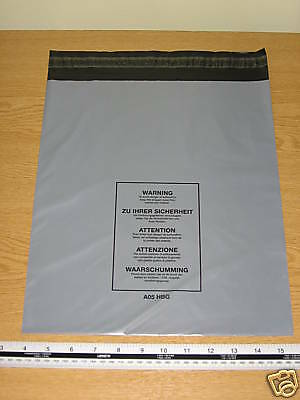 100 x Medium Large Mail Bags Parcel Sacks Grey approx 300mm x 350mm 12x 14 A05