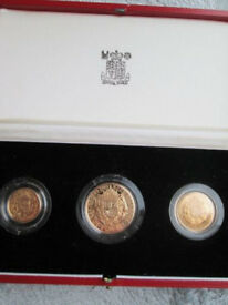 1989 3 coin proof gold sovereign set