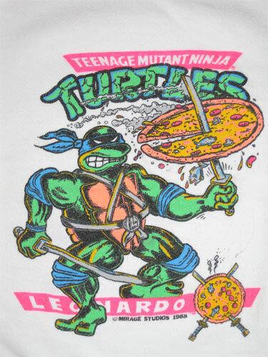 TMNT Ninja Turtles _MONDO RARE ORIGINAL Shirt c 1988 VTG - Leonardo Katana Pizza