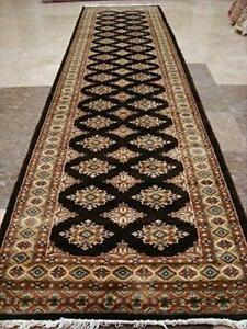 Chocolate Brown Jaldar Hand Knotted Runner Rug Wool Silk Carpet (10.3 x 2.7)'
