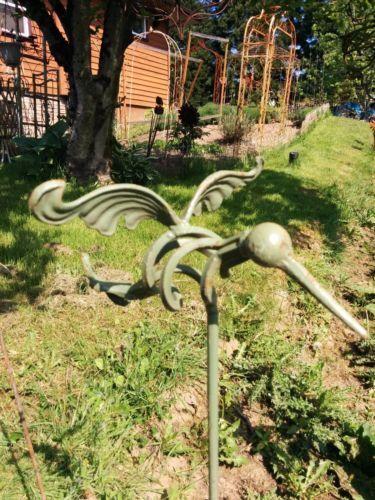 Wrought Iron Metal Hummingbird Plant Stake Garden Lawn Outdo