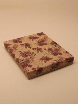 Grande Caja de Regalo Rebaño Interior 18x14x2.6cm Estampado Flores Papel Kraft