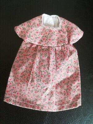 dolls dress size 6in tiny red flower design hand made