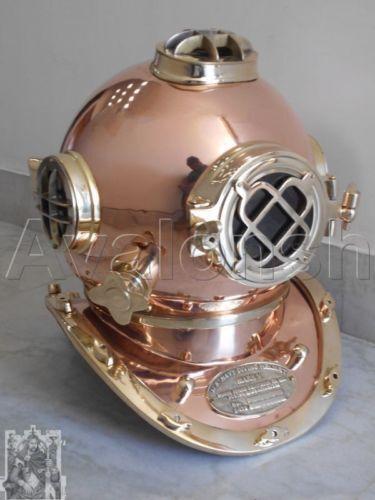 """Vintage Scuba Diver Solid Brass Antique Divers Diving Helmet US Navy Mark V 18"""""""