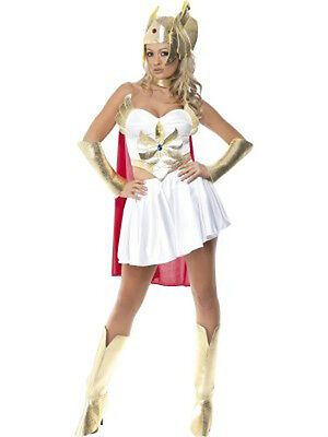 Adult She-Ra Costume with Skirt, Headpiece, Cape, Boot Covers and Arm Cuffs