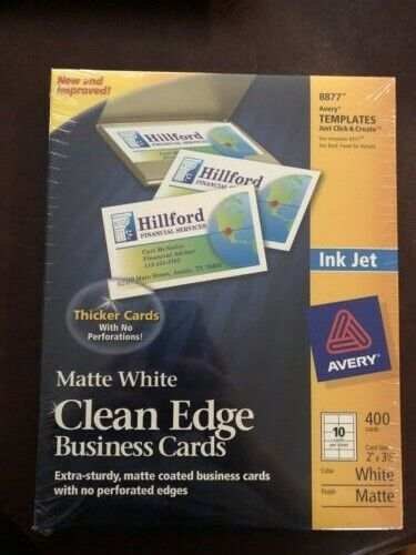 Avery 8877 Clean Edge Matte White Business Cards Ink Jet Extra Sturdy 400 (b2)