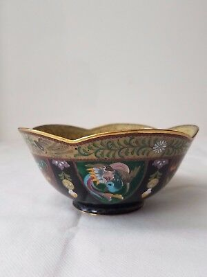 Chinese Cloisonne Enamel Gilt Bowl DRAGON and PHOENIX