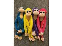 Children's Soft Toy Pink, Purple, Yellow And Turquoise Hanging Monkeys Plush