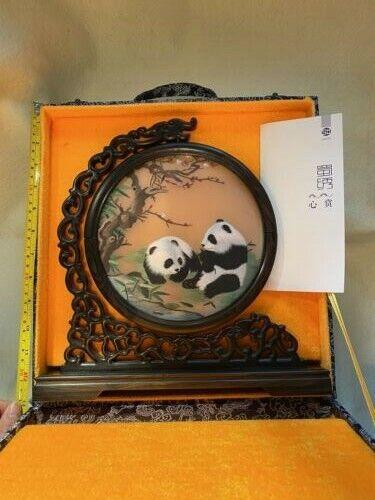 Chinese Handmade Suzhou Double-Sided Panda Silk Embroidery Screen Bamboo Wood