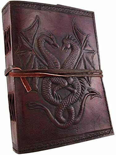 Handmade Leather Journal Notebook Dragon Embossed Diary Bound Writing Book Lock