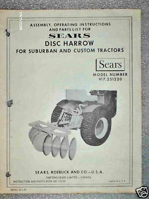 917.251220- Sears Suburban Tractor- 3pt Hitch Disk Harrow Owners Manual On Cd