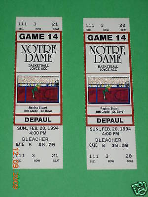 Notre Dame vs. DePaul Basketball Tickets 2-20-1994