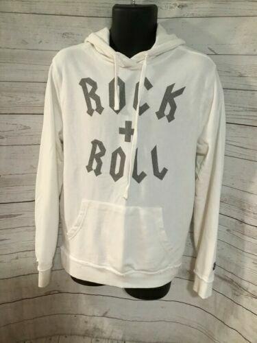 Junk Food Men's Rock + Roll Long Sleeve Hooded Sweatshirt – Optic White L Activewear