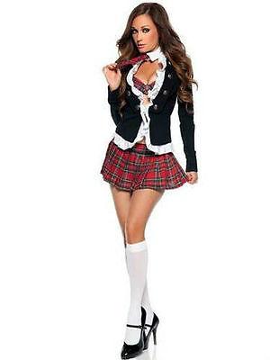 Naughty Superhero Costumes (Halloween SEXY Naughty Blazer School Girl Fancy Dress Costume Outfit)