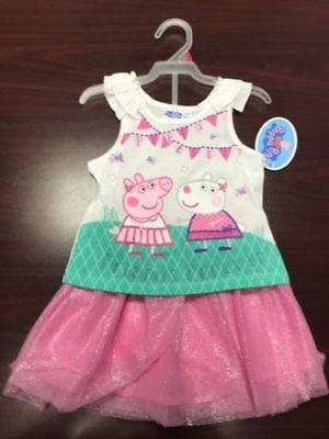 New Girls Peppa Pig Outfit  Friends Forever  T Shirt And Skort  2T 3T 4T