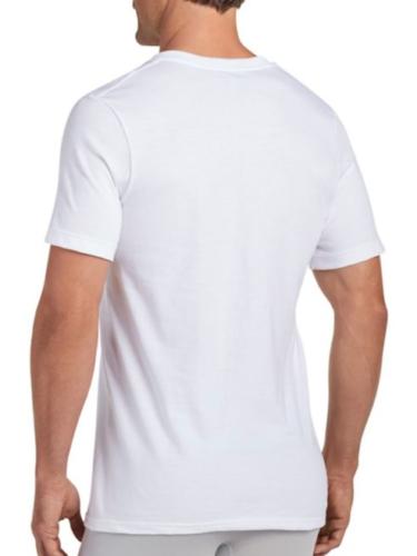 New Jockey Men's Classic V-Neck T-Shirts, 4 Pack, White, Sma
